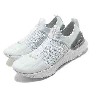 Nike Wmns React Phantom Run FK 2 Flyknit White Silver Women Running CJ0280-100