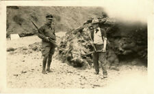 TWO HUNTERS WITH RIFLES, DEAD ANIMAL - ORIGINAL VINTAGE SNAPSHOT PHOTO