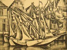 Lithograph engraving 'Veere, Holland' signed Jelle Troelstra (Pietersz) Dutch