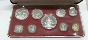 1973 Bahamas 9 Pc Proof Set w/4 Silver Coins in Original Box from Franklin Mint