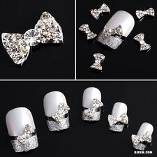 10Pcs 3D Clear Alloy Rhinestone Bow DIY Decorations Tie Nail Art Slices Lot