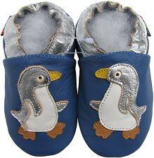 shoeszoo penguin blue 6-12m S new soft sole leather baby shoes