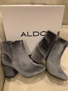 Aldo Women's 8 Ankle Boots Silver Gray Masen Block Heels Velvet Booties $125