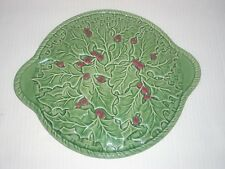 Bordallo Pinheiro Portugal Platter with Handles Green Holly Leaves & Red Berries