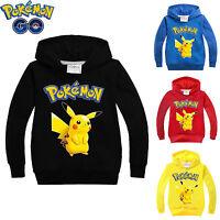 Kids Sweatshirt Boys Long Sleeve Pokemon Pikachu Hoodies Casual Pullover Tops