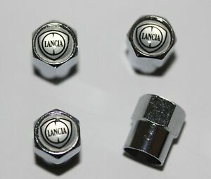 Lancia Silver Tire Valve Stem Caps Wheel - Extra Free Cap Total 5 Caps