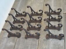 """12 RUSTIC COAT HOOKS ANTIQUE STYLE CAST IRON 4.5"""" WALL DOUBLE RESTORATION BROWN"""