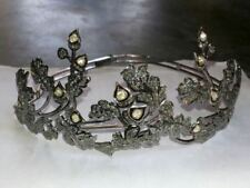Vintage 7.82cts Rose Cut Diamond Tiara 925 Sterling Silver Royal Crown Jewelry
