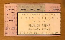 1982 Van Halen Dallas Texas Concert Ticket Stub Diver Down Tour David Lee Roth Q