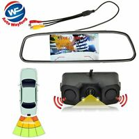"4.3""Car Reverse Rear View Mirror Display Monitor+ Backup Camera & Radar Sensor"