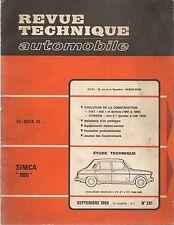 REVUE TECHNIQUE AUTOMOBILE 281 RTA 1969 ETUDE SIMCA 1100 EVO FIAT 500 + AMI 6