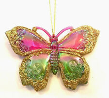 "KURT ADLER 3.75"" RAINBOW BUTTERFLY w/ GOLD GLITTER CHRISTMAS ORNAMENT STYLE 3"