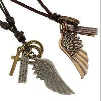 Mens Womens Jewelry Vintage Angel Wing Leather Necklace New Charm Pendant Cool