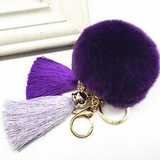 Fluffy Rex Rabbit Fur Ball Pom Tassel Car Keychain Pendant Handbag Keyring Gift