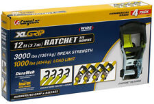 """4pc 1-1/2"""" by 12ft Ratchet Tie Down Strap HD Tow Ratcheting X-Large T-Handle"""