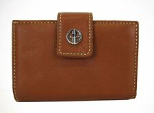 ** GIANI BERNINI SANDALWOOD Cognac Pebble Leather Wallet Msrp $57.50
