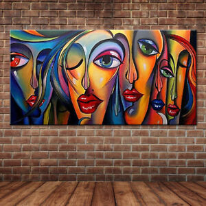 ZOPT30 large 100% hand-painted Modern Abstract color girl Oil Painting on canvas