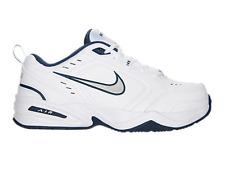 New Nike Air Monarch IV White Metallic Silver Navy 416355-102 Men's Shoes Sz 7.5