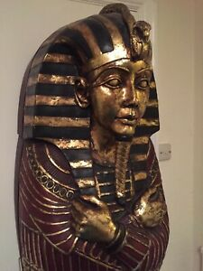 EGYPTIAN SARCOPHAGUS CD/DVD CABINET BOOKSHELF TUTANKHAMUN 6FT LIFE SIZE