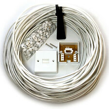 15M BT Phone/Broadband Wall Socket Extension Cable Kit - 4 Way Reel Wire Lead