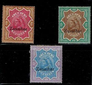 Zanzibar 1895 The First Issue High Values 2R 3R 5R MOG VF S.G. 19, 20, 21 CV305