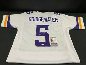 TEDDY BRIDGEWATER MINNESOTA VIKINGS SIGNED WHITE CUSTOM JERSEY JSA COA PANTHERS