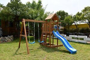 Outdoor Wooden Swing Climb & Slide Set Playset for Backyard 2200mm Slide