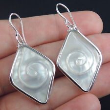 KITED Shape MOTHER OF PEARL & 925 Sterling Silver Earrings Jewellery, SPIRAL