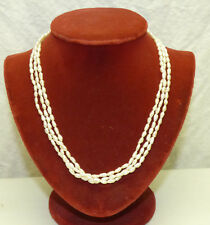 """Vintage 3 Strand Triple Freshwater Pearls 19"""" Necklace w/ 14K Gold Clasp"""