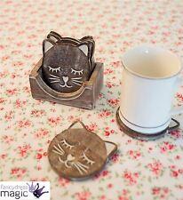 Sass & Belle Rustique Sculpté En Bois Animal Chat Ensemble De Dessous De Verre