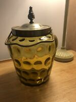 Antique Biscuit Barrel Sage Green Amber Spot Glass Silver Plate Flame Finial