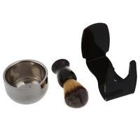 Badger bristle shaving brush + Acrylic bristle holder + Bowl + Shaving soap shav