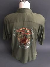 """TOMMY BAHAMA EMBROIDERED """"The Cocktail with Bite"""" Tiger Green 100 Silk Shirt XL"""
