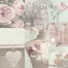 CHARLOTTE BLUSH HEARTS SCRIPT FLORAL FLOWERS QUALITY ARTHOUSE WALLPAPER 665200