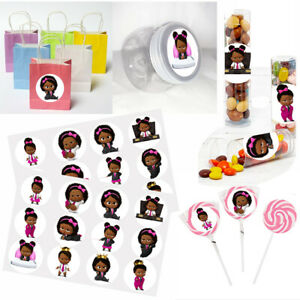 """Black Baby Girl, Bossy Stickers, 24 DIY Labels 1.67"""" Diameter Circle Party Favor"""