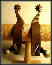 Mens Vintage Hand Made Silver Mounted Black Spurs with some Surface Rust