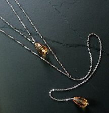 Amber Beaded Necklace Layered Long Y-Drop--Glass Beads w/ Stainless Steel Chain