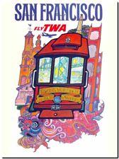 "Vintage Illustrated Travel Poster CANVAS PRINT ~ San Francisco Tram TWA 36""x24"""