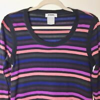a654dd476e1 SONIA RYKIEL Karma Body & Soul Long Sleeve Striped Cotton Shift Dress Sz M  HTF n