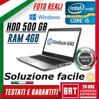 """PC NOTEBOOK PORTATILE HP ELITEBOOK 840 G2 14"""" CPU i5 5° RAM 4GB HD 500GB +WIN10!"""