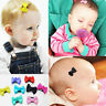 10 PCS Baby Girl's Mixed Colors Ribbon Hair Bow Mini Latch Clips Safe Hair Clips