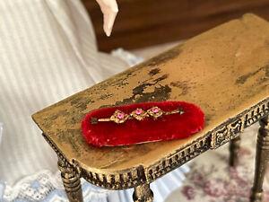 Vintage Miniature Dollhouse Artisan Romantic Ladies Bracelet Velvet Display OOAK