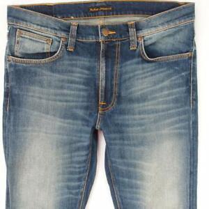 Hommes Nudie LEAN DEAN Ajusté Skinny Élasthanne Bleu Jeans W34 L32