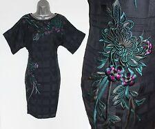 Karen Millen Black Embroidery Embellished Batwing Sleeves Tunic Dress Uk12