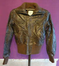 Ladies Miso Dark Tan Faux Leather Bomber Jacket Size 12