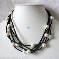 """19"""" 9-11mm White Freshwater Pearl Necklace Black Suede Rope Jewelry"""