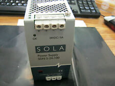 Sola Model: SDN-5-24-100 DIN Rail Mount Power Supply.  Tested Good  <