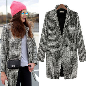 Parka Jacket Overcoat Outwear Women Slim Winter Faux Wool Lapel Long Coat Trench