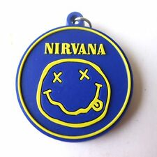 New Nirvana Dark Blue Rubber Keychain Rock Music Memorabilia Gift Collectible