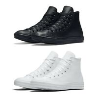 New Converse Chuck Taylor All Star Leather High Top Men Shoes Black White NIB